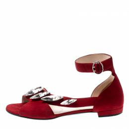 Prada Red Suede Crystal Embellished Ankle Strap Flat Sandals Size 37.5 210710