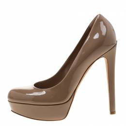 Dior Brown Patent Leather Platform Pumps 38.5 210764