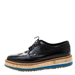 Prada Black Brogue Wingtip Leather Espadrille Derby Size 37.5 210766