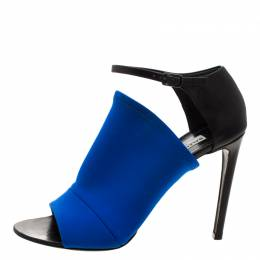 Balenciaga Blue Fabric And Black Leather Neoprone Peep-Toe Ankle Strap Pumps Size 39.5 211091