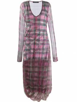 Y / Project клетчатое платье с длинными рукавами WTSDRESS26