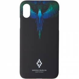 Marcelo Burlon County Of Milan Black and Blue Wings iPhone X Case 192539M15300101GB