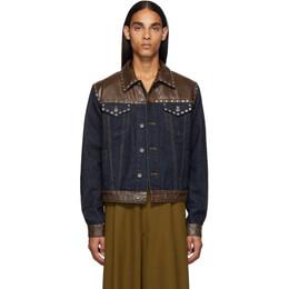Dries Van Noten Blue and Brown Denim Jacket 20546-8393-509