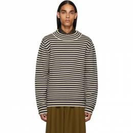 Dries Van Noten Navy and Off-White Wool Sweater 21233-8702-005