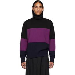 Dries Van Noten Black and Purple Wool Turtleneck 21224-8702-401