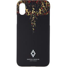 Marcelo Burlon County Of Milan Black Leopard Wings iPhone X Case 192539F03200101GB