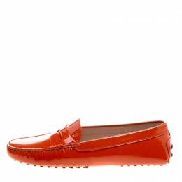 Tod's Orange Patent Leather Penny Loafers Size 39 Tod's 210877