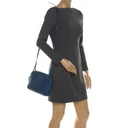 Bottega Veneta Blue Intrecciato Leather Nodini Crossbody Bag 210923