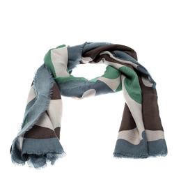 Burberry Prorsum Multicolor Large Camouflage Print Fringed Edge Cashmere Scarf 208483