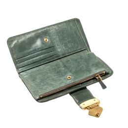 Miu Miu Green Matelasse Leather Clasp Lock Wallet 208516