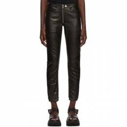 Marcelo Burlon County Of Milan Black Shiny Biker Trousers CWCA057E19C281731000