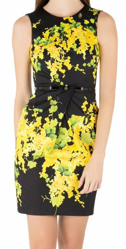 Blumarine Black and Yellow Floral Print Stretch Cotton Belted Sheath Dress S 211688