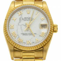 Rolex White 18K Yellow Gold Date Just President Bracelet Women's Watch 31MM 211852