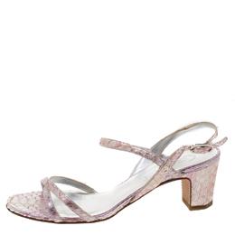 Chanel Multicolor Python Leather CC Open Toe Slingback Sandals Size 37