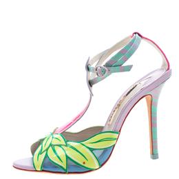 Sophia Webster Multicolor Patent Leather Flamingo Peep Toe T Strap Sandals Size 38