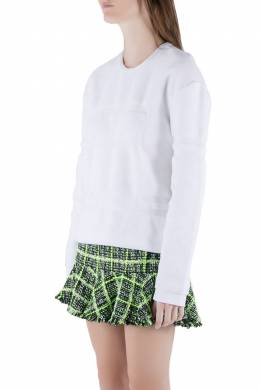 Alexander Wang White Terrycloth Knit Wet Embossed Sweatshirt M 211626