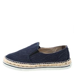 Jimmy Choo Blue Denim Dawn Espadrilles Slip On Loafers Size 38.5