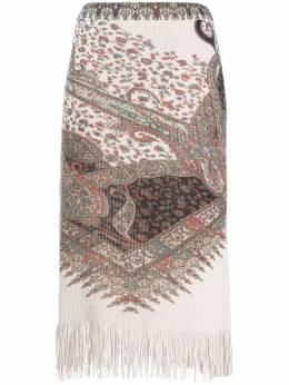 Etro трикотажная юбка с узором пейсли 182219164