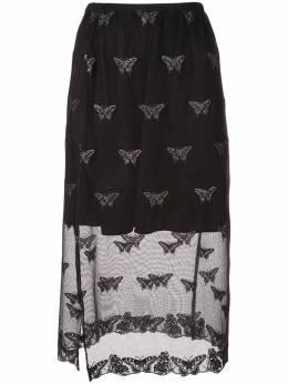 Fleur Du Mal полупрозрачная юбка с вышивкой SK00730100