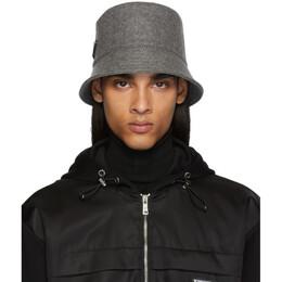 Prada Grey Triangle Logo Bucket Hat 192962M14000502GB
