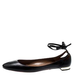 Aquazzura Black Leather Heart Breaker Ballet Tie Up Ballet Flat Size 42 210858