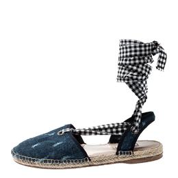 Miu Miu Blue Denim Fabric Tie Up Espadrille Flats Sandals Size 40 211527