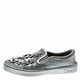 Dior Metallic Silver Glitter Leather Dior Happy Floral Embellished Slip On Sneakers Size 39 211523