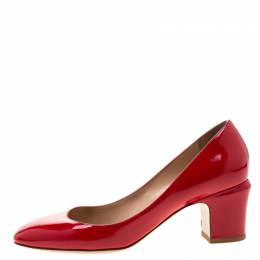 Valentino Red Patent Leather Block Heel Pumps Size 39 211577