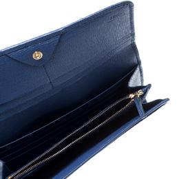 Fendi Blue Leather Elite Continental Wallet 208743