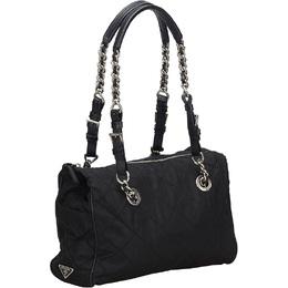 Prada Black Nylon Chain Tote Bag 294266