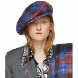 Charles Jeffrey Loverboy Blue and Red Tartan Flat Cap CJLAW19FC