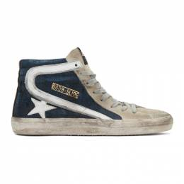 Golden Goose Blue and Grey Denim Slide Sneakers G35MS595.A46
