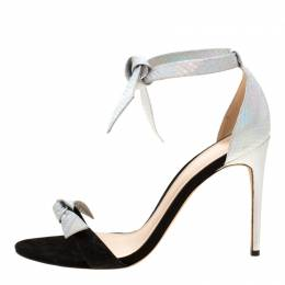 Alexandre Briman Metallic Silver Python Embossed Leather Ankle Tie Sandals Size 40 Alexandre Birman