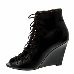 Givenchy Black Leather Cut Out Wedge Boots Size 39 211042