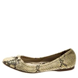 Fendi Beige Python Leather Bow Detail Ballet Flats Size 38 211687