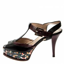 Fendi Multicolor Embossed Lizard Leather T Strap Platform Sandals Size 38 211694