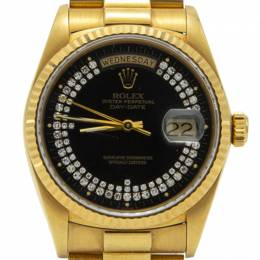 Rolex Black Special Diamonds 18K Yellow Gold Day-Date President Bracelet Watch 36MM 212593