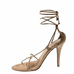 Burberry Beige Python Leather Ankle Wrap Open Toe Sandals Size 38 211678