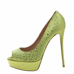 Valentino Pop Apple Green Crystal Embellished Satin Peep Toe Platform Pumps Size 40 211700