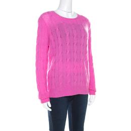 Ralph Lauren Pink Cable Knit Cashmere Crew Neck Pullover L 211733