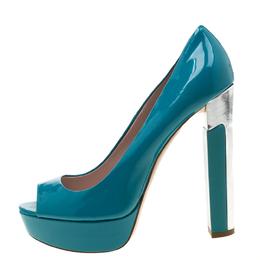 Miu Miu Blue Patent Leather Peep Toe Platform Pumps Size 39.5 209464
