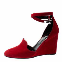 Hermes Rouge Vif Suede Lively Ankle Strap Wedge Pumps Size 39 209601