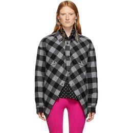 Balenciaga Grey and Black Check Flannel Swing Canadian Jacket 583874-TFP08