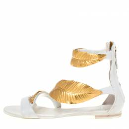 Giuseppe Zanotti Design White Leather Metal Leaf Embellished Flat Sandals Size 36 211128