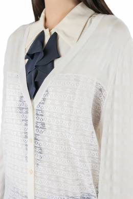 Nina Ricci Cream Striped Knit and Lace Cardigan XL 212486