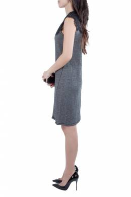 Sea Grey Wool and Lace Neckline Detail Sleeveless Dress S 212378