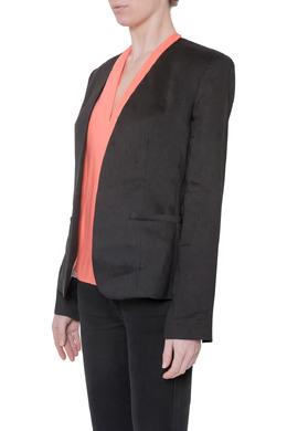 L'Agence Black Linen Open Front Sleeve Slit Detail Blazer M 212349