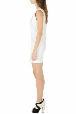 Iro White Panelled Cotton and Leather Patch Ambre Dress M 212352