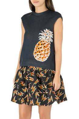 MSGM Indigo Blue Cotton Knit Pineapple Applique Sleeveless Sweatshirt S 212412