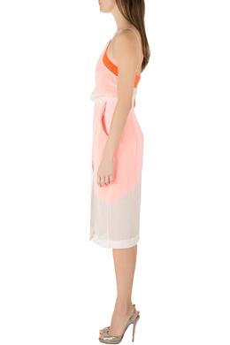 Dion Lee Neon Orange and Cream Sheer Silk Layered Vertigo Halter Dress S 212476